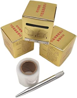 3 Roll Eyebrow Tattoo Plastic Film with Permanent Makeup Pen Preoperative Wrap Cover Tape Supplies kit