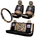 Realtree 4pc Camo Auto Accessories Kit, Timber, Xtra and Mint Camo - Includes 2 Front and 1 Bench Seat Covers and 2-Grip Camo Steering Wheel Cover (4-pc Seat Cover Package) (Realtree Xtra)