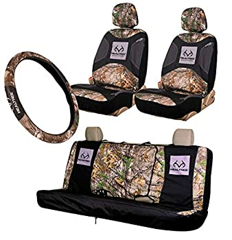 Realtree 4pc Camo Auto Accessories Kit Timber Xtra and Mint Camo - Includes 2 Front and 1 Bench Seat Covers and 2-Grip Camo Steering Wheel Cover  4-pc Seat Cover Package   Realtree Xtra