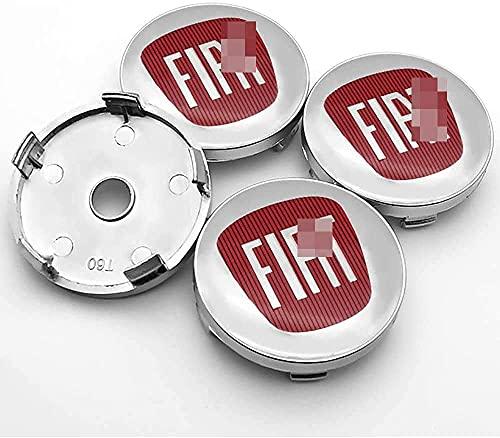 Coche Neumático Tapas Cubo Rueda Centrales para FI-at 500 500L 500X 124 Bravo, Con Insignia Estilo Cubierta Prueba Polvo Accesorios Pegatinas