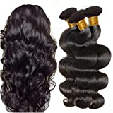 JINREN Brazilian Virgin Hair Body Wave Hair Weave 3 Bundles Full Head Set Unprocessed Virgin Human Hair Weave Natural Black 10-28inch (14inch 16inch 18inch)