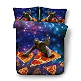 Royal Linen Leisurely Sloth on Pizza and Galaxy Bed Set 3pcs Kids Bed linens Full Queen King Size Bedding with 1 Duvet Cover 2 Shams (JF531, Queen 3pcs)