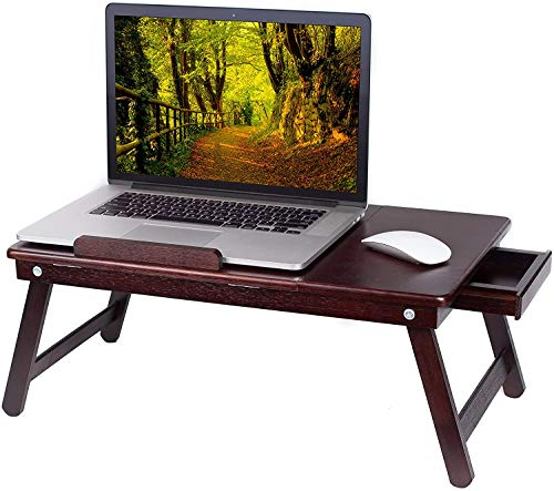 BIRDROCK HOME Bamboo Laptop Bed Lap Tray - Multi-Position Adjustable Tilt Surface - Pull Down Legs - Storage Drawer - Great for Computer iPad Book Coloring Stand - Espresso