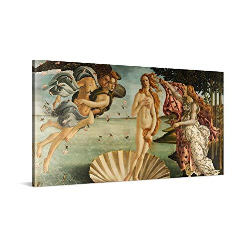 PICANOVA – Sandro Botticelli – The Birth of Venus 100x50cm – Cuadro sobre Lienzo – Impresión En Lienzo Montado sobre Marco De Madera (2cm) – Disponible En Varios Tamaños – Colección Arte Clásico