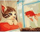 Punto de cruz Kit Bordados para niños y adultos Lindo gato y peces de colores,16 x 20 pulgadas DIY costura punto de cruz set decoración de pared principiante(11CT)