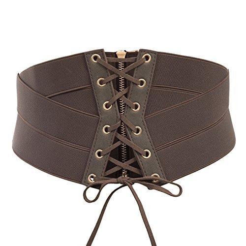 SCARLET DARKNESS Cinturón Steampunk para mujer Cintura punk vintage retro Cremallera elástica de cuero elástico con cadena Talla M Marrón