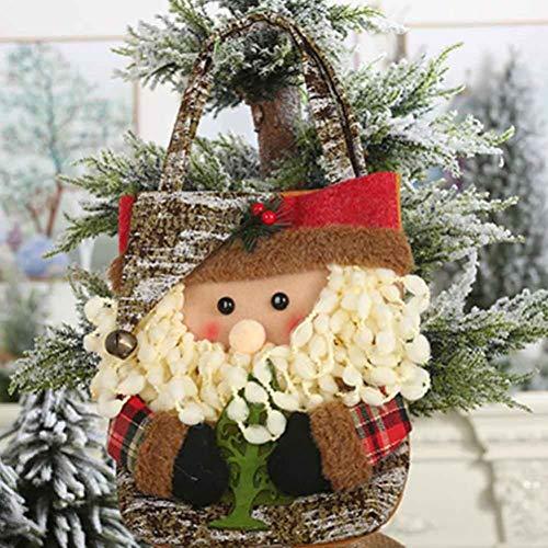 WWLIN Bolsas de Dulces navideñas Bolsa de Compras de Regalo no Tejida Reutilizable Bolsa Grande con Asas de Bucle Largo Festival de Navidad Suministros de decoración del hogar