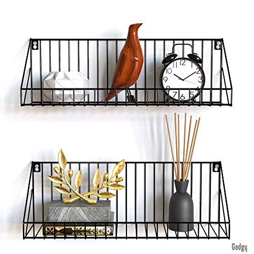 Gadgy Hängeregal | Set 2 Stück Wandregal Metall Schwarz | Größe 45 x 12 x 15 cm. | Metallregal Wanddeko | Schweberegal mit