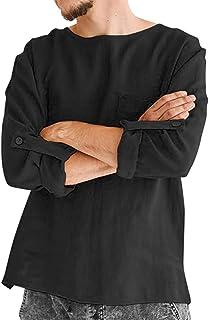 Puimentiua トップス メンズ 綿麻シャツ ラウンドネック 無地 薄手 綿麻 ゆったり リネン カジュアル オシャレ 春 夏 秋