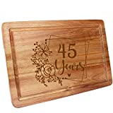 HomeLove Inc. 45th Birthday 45 Years Anniversary Ideas Engraved Wood Cutting Board Gifts for Women, Her, Mom, Dad, Husband, Wife, Friend, Cook Lover, chef