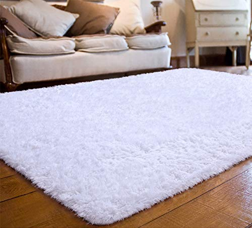 JOYFEEL Soft Fluffy Shag Area Rugs for Bedroom Living Room - Large Fuzzy Fur Carpet Nursery Kids Playroom Classroom Plush Decor - Furry Rug Used for Floor/Tile Non-Slip - White 5x8 ft