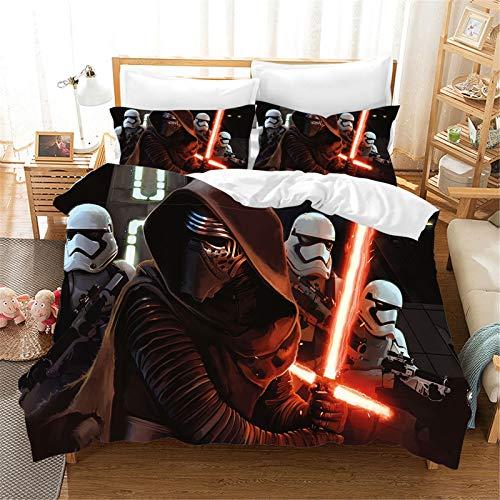 SMNVCKJ Juego de cama infantil de Star Wars, funda nórdica y funda de almohada, impresión digital 3D, microfibra, para niños y niñas (9,individual 135 x 200 cm)
