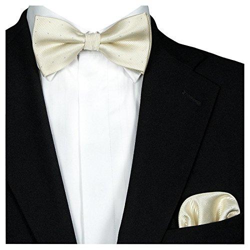 GASSANI 2Tlg Fliegenset, Festliche Cremefarbene Herren-Fliege Silber Gepunktet, Hochzeitsfliege Anzug-Schleife Vor-Gebunden Ein-Stecktuch Vorgefaltet, 12cm x 6,5cm, Creme / Ivory / Beige