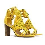 MOOMMO - Botines de tacón para mujer, con rejilla abierta y de encaje, color amarillo, color Amarillo, talla 34 EU
