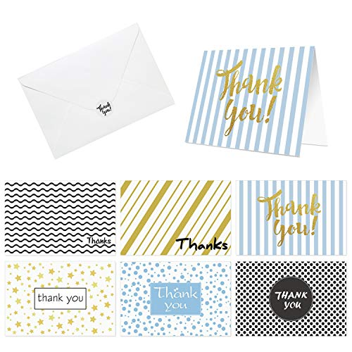 48 Thank You Cards of Ohuhu, Thank U Cards of 6 Designs Greeting Cards with 48 Envelopes and Stickers for Wedding, Baby Shower, Business, Anniversary, Blank Insides, 4 X 6 Inch (48 pack Folded)