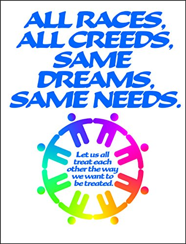 "All Races All Creeds - Golden Rule Poster Reminds Everyone That we are All Humans. 19 x 25"" $10.00 Plus Shipping"