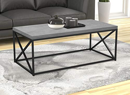 Safdie & Co. Living Room Coffee Coktail Tea Center Table-48 L/Gray Modern Low Table, Grey Cement