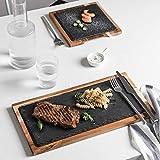 Consejo de madera natural con bandeja de piedra de pizarra, cocina sushi Plate BBQ Steak Pad postre bandeja de cocina suministros de restaurante plano para decoración y decoración
