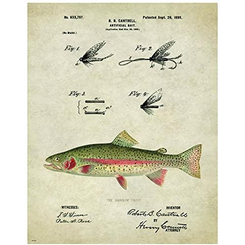 FUXUERUI Vintage señuelos de pesca lienzo pared arte impresión póster e imágenes pintura colgante para hombres habitación decoración del hogar 40x60 cm sin marco