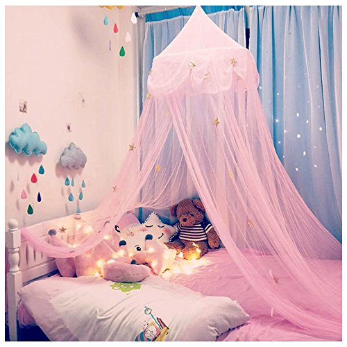 NYDECOR Mosquito Net Canopy Bed Curtains Dome Princess Stars Bed Reading Tent for Girls Kids, Indoor Game House(Pink)