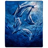 """Lavish Home Heavy Fleece Ocean Dolphins Pattern-Plush Thick 8 Pound Faux Mink Soft Blanket for Couch Sofa Bed (74"""" x 91""""), Multicolor"""