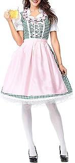 CHIYEEE Dirndl Kleider mit Schürze Damen Midi Trachten-Kleid für Deutsches Oktoberfest Party Maid Cosplay Kostüm S-XXXL