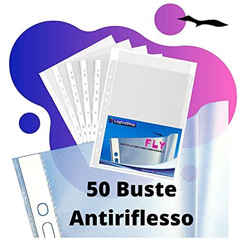 LogicaShop Fly Buste Trasparenti Anelli A4, Cartelline Plastica con Fori Portadocumenti,...