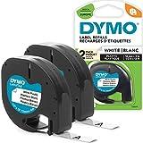 DYMO LT plástico etiquetas para los fabricantes de etiquetas, etiquetas LetraTag blancas, 12 mm x 4m Roll, autoadhesivo | 2unidades