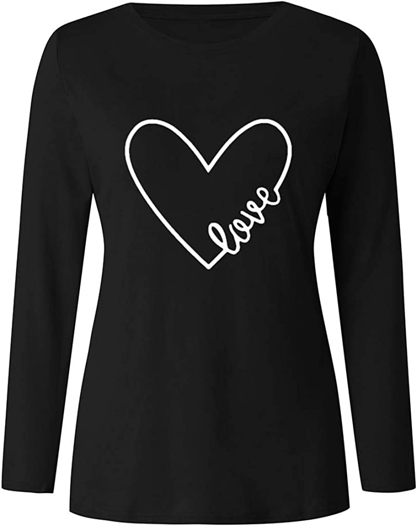 F/_topbu Sweatshirts for Women Round Neck Long Sleeve T-Shirt Heart-Shaped Print Pullover Blouse Casual Loose Top Shirts