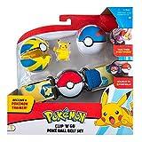 Pokeball Pokemon Clip 'n' Go - Cinturón porta bolas con figura Pikachu en pies que ride y 2 original oficial