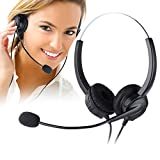 Telephone Headset, PChero Noise Cancelling Headset with Mic for Call Center Desk Telephone, Ideal for Phone Sales, Insurance, Hospitals, Telecom Operators - Binaural