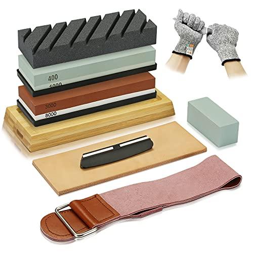 Knife Sharpening Stone Kit,4 Grit Whetstone Sharpening Stone Set 400/1000 3000/8000,Non-Slip Bamboo Base,Flatting Stone,Angle Guide,Leather Razor Strop,Cut Resistant Gloves,Polishing Compound