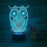 Office Bar Owl & Acrílico grabado Gradient Night Light 3D LED Lámpara de mesa niños regalo de cumpleaños decoración de la habitación junto a la cama