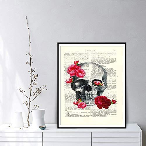 Geiqianjiumai schedel kunst en roze roze roos woonkamer woordenboek drukposter wandafbeelding canvas kunst decoratie zonder lijstwerk