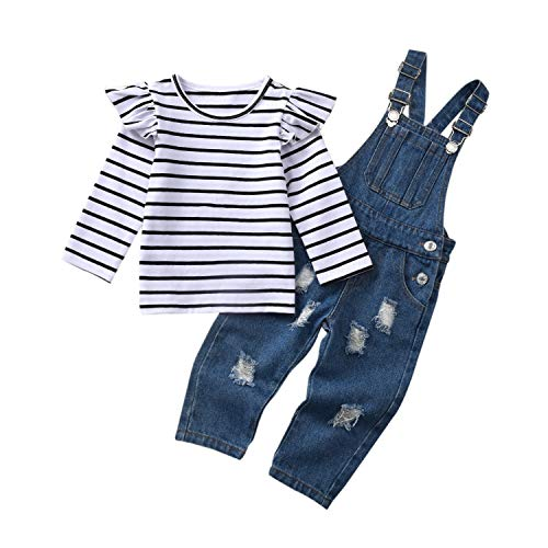 2PCS Baby Girls Clothes Toddler Jumpsuit Rompers Adjustable Ripped Jeans Overalls Set with Long Sleeve Stripe T-Shirt Blue
