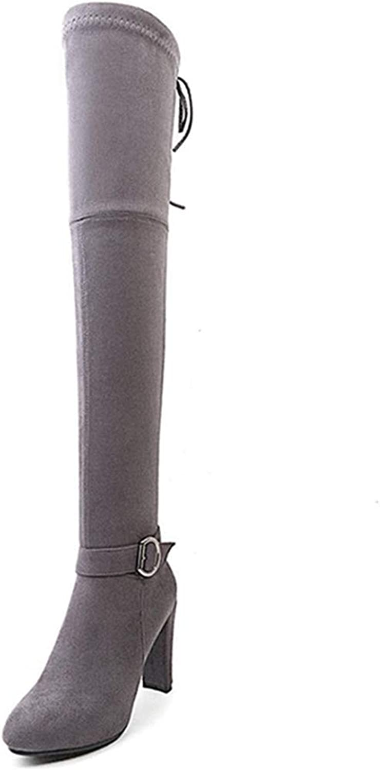 DOSOMI Women's Over -The- Knee Winter Zip Up Thigh High Block Square Heel Boots