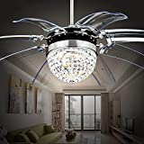 Akronfire - Ventilador de techo de cristal con mando a distancia, luces invisibles para decorar el salón o comedor con lámpara LED de araña de 106,68 cm, color plateado