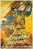 The Fighting Filipinos Vintage World War II Two WW2 WWII USA Military Propaganda Poster