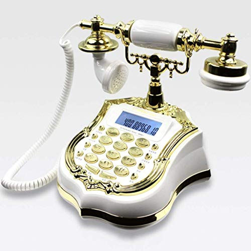 YUBIN Teléfono Teléfono Antiguo Hotel Europeo Hotel Retro Fijo Fijo Antiguo Teléfono Artesanía (Color: Negro Pera Color) (Color: Negro) (Color : White)
