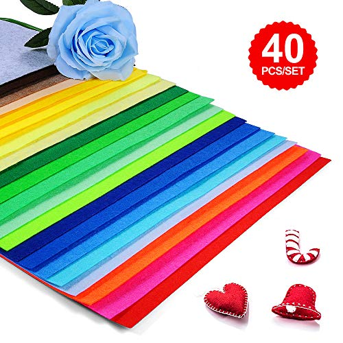 Felt Fabric Sheets for Craft 12×8 inches Assorted Colors with Thread for Sewing Felt Sheets