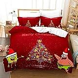 Totots Biancheria da Letto for Bambini, Tema di Natale, Spongebob e Piestar, Lavabile in Lavatrice,...