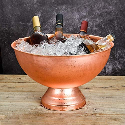 CLJ-LJ Cubetas de hielo de acero inoxidable para champán, grande de 13,5 l, plato de champán de oro rosa para fiestas, vino, cócteles y bebidas de jardín enfriador