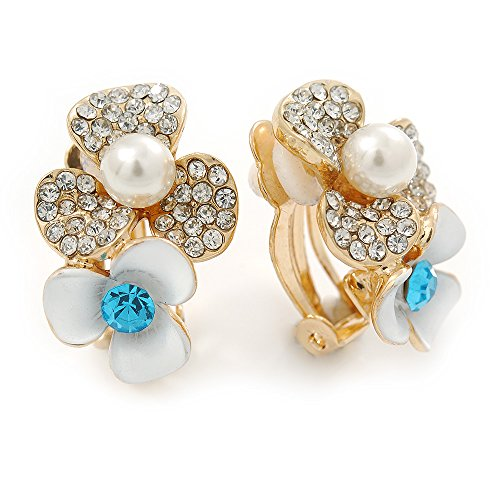 Crystal, Pearl Double Flower Clip On Earrings In Gold Plating - 25mm L