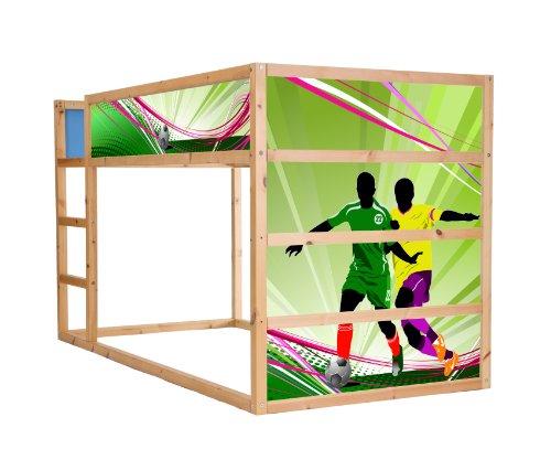 STIKKIPIX Fussball möbelfolie självhäftande/dekal – IM194 – lämplig för barnkammaren högsäng KURA från IKEA – möbler ingår ej