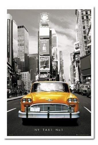 New York Poster Yellow Taxi in Times Square Kork Pinnwand weiß Rahmen, 96,5x 66cm (ca. 96,5x 66cm)