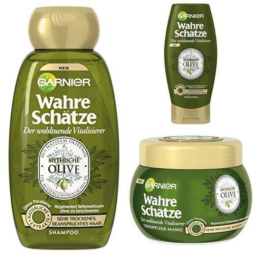 Garnier Wahre Schätze Shampoo + Spülung + Maske Mythische Olive, je 1er Pack