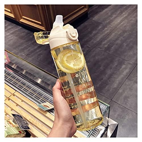 コップを飲む 学生ウォーターカップストローふたの男の子と女の子の水のボトル500/700 / 800ml (Capacity : 700ml, Color : White)
