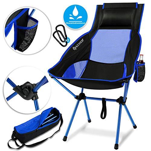 Kesser® Campingstuhl faltbar klappbar mit hoher Rückenlehne tragbar Angel Stuhl Camping Stuhl Faltstuhl bis 120 kg Strandstuhl Angelstuhl Klapphocker mit Getränkehalter, Outdoor Stuhl, Blau