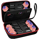 ALKOO Dart Case Holds 12 Steel Tip and Soft Tip Darts with Extra Space to Keep Flights in Shape, and Numerous Pockets Holder for Storage Tips, Shafts and Flights- Black