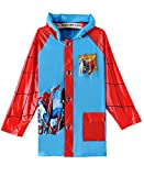 Spiderman Boys Portable Cartoon Long Raincoat Rain Poncho with Hoods and Sleeves S